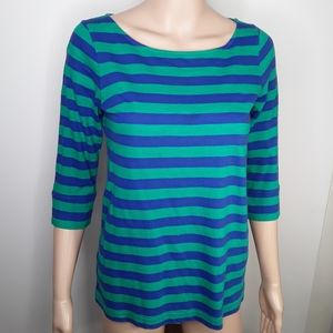 Lilly Pulitzer Scoop Neck 3/4 Sleeve Striped Top S